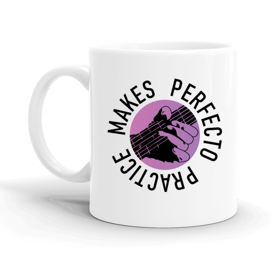 PRACTICE MAKES PERFECTO CIRCLE HAND MUG - WHITE