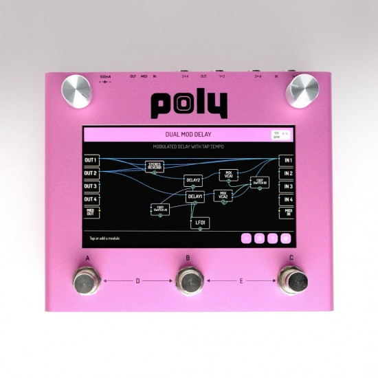 Poly Effects - Digit - Delay, Reverb. Touch screen visual modular pedal